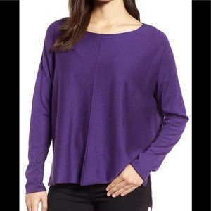 Eileen Fisher blend high/low sweater purple sz XL